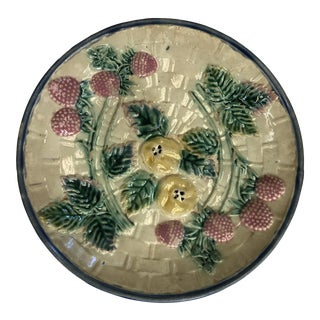 Antique Majolica English Ceramic Plate For Sale
