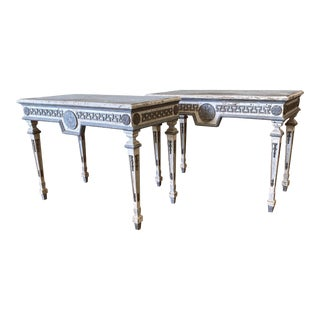 Italian Painted Console Tables With Greek Key Design - a Pair For Sale