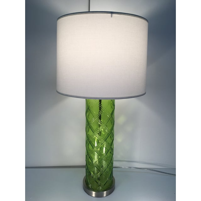 Green Glass Lamp With Bamboo Pattern - Image 2 of 6