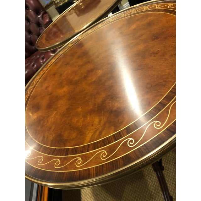 1990s 1990s Neoclassical Theodore Alexander Burl & Zebrawood Round Side Tables - a Pair For Sale - Image 5 of 9
