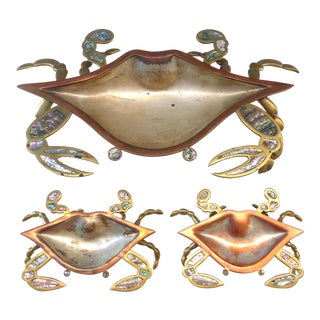 Los Castillos Style Abalone & Metal Crab Bowl W/ Side Dishes - Set of 3 For Sale