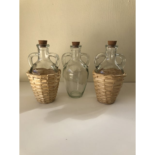 Transparent Wicker Wrapped Demijohn Bottles - Set of 3 For Sale - Image 8 of 13