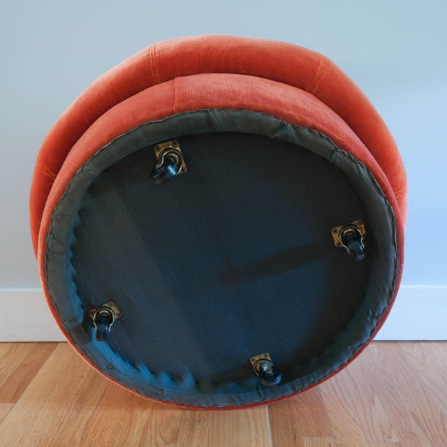 Round Coral Ottoman on Casters - Image 5 of 5