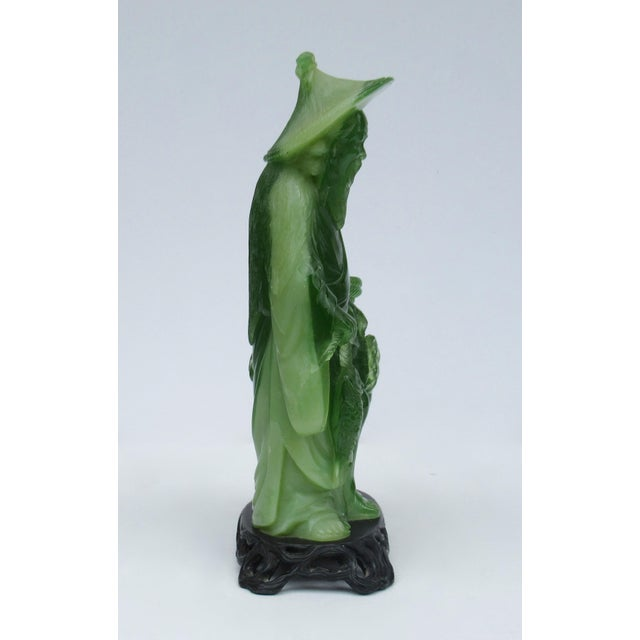 Asian Style C.1930s-50s Vintage Asian Carved Jade Thespian, Scholar and Fisherman Statue on a Dark Huali Rosewood Base For Sale - Image 4 of 13