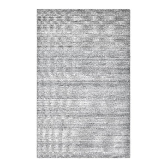 Sanam, Contemporary Solid Hand Loomed Area Rug, Gray, 8 X 10 For Sale