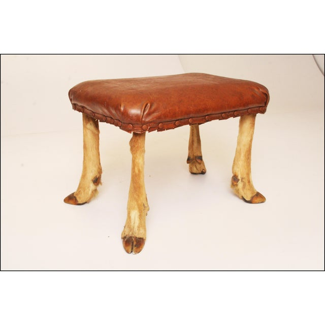 Vintage Brown Vinyl Foot Stool - Image 6 of 11
