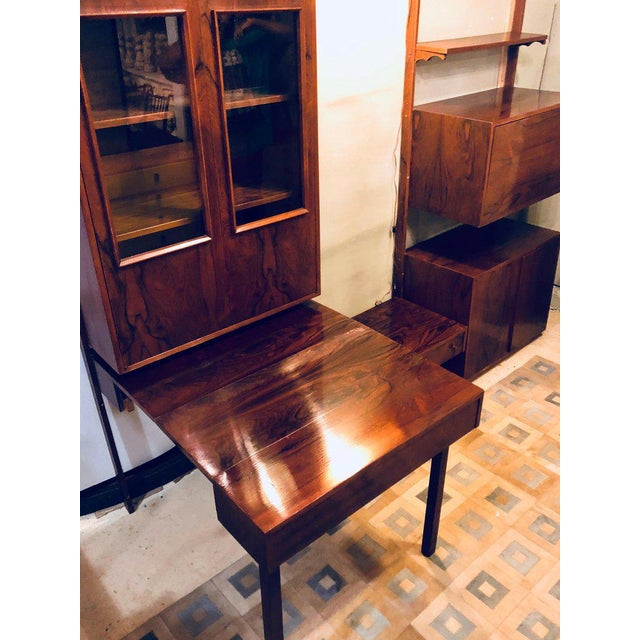 Glass Midentury Rosewood Wall-Unit Including Table, Desk, Curio Cabinet and Light For Sale - Image 7 of 13