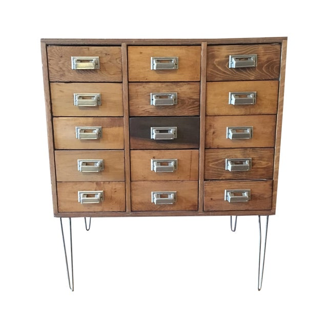 15 Drawer Card Catalog on Hairpin Legs For Sale