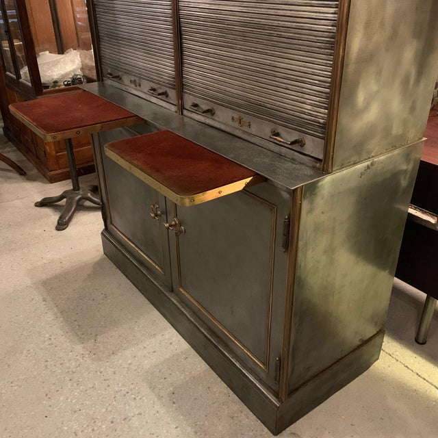Antique Steel and Brass Roll Top Valuables Safe Display Cabinet For Sale - Image 12 of 13