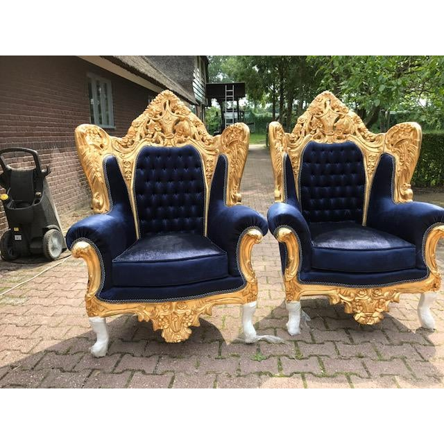 Textile Baroque / Rococo Style Dark Blue Velvet Chairs - a Pair For Sale - Image 7 of 7