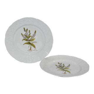 "1980s Dansk Botanical ""Veronica Anagallis-Aquatica"" Ivy Embossed Plates - Set of 2 For Sale"