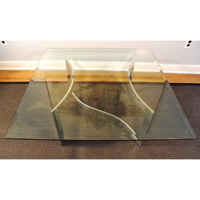 Milo Baughman Style Glass and Chrome Table - Image 4 of 9