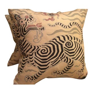 "Clarence House Pillows in Tibet Dragon ""Antique"" Linen - a Pair For Sale"