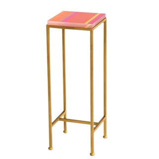 Contemporary Ellsworth Acrylic Drinks Table – Base: Gold, Top: Stripes Tropicana For Sale