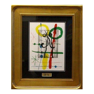 Mid-Century Modern Cartoons II by Joan Miro Framed Lithograph COA For Sale
