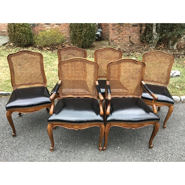 Bodart French Louis XIV Caned Leather Dining Chairs -Set of 6 For Sale - Image 13 of 13