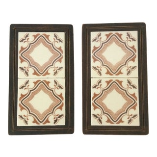 Vintage 70's Arts and Crafts Brown Mexican Tile Trivets - Pair For Sale