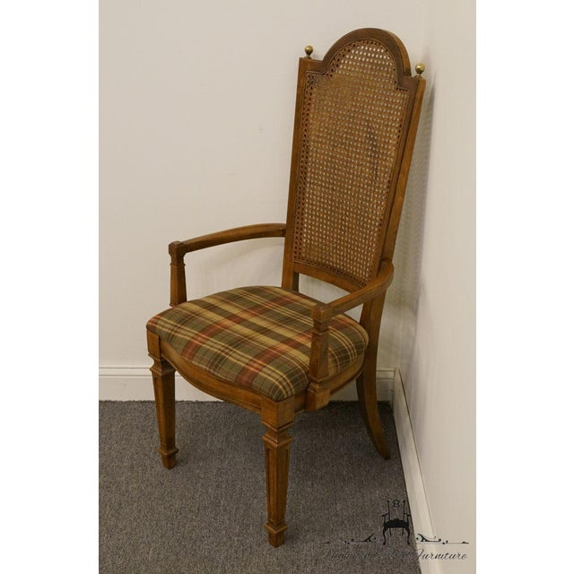 Italian Late 20th Century Vintage Thomasville Furniture Cellini Collection Cane Back Dining Arm Chair For Sale - Image 3 of 13