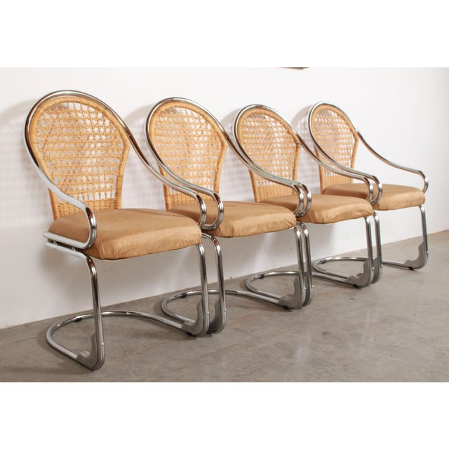 Tan Mid Century Modern Italian Chrome & Woven Rattan Wicker Dining Chairs - Set of 4 For Sale - Image 8 of 11