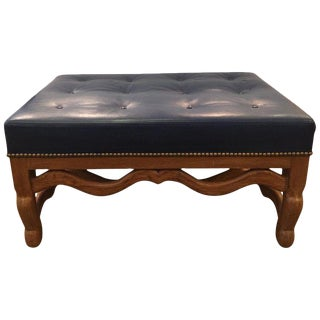 Mid-Century Baker Dark Blue Large Leather Ottoman For Sale