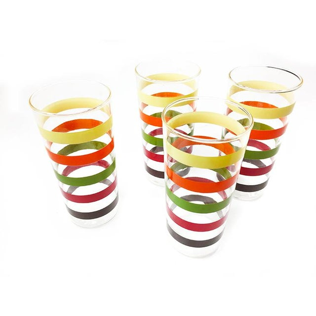 Americana Vintage Retro High Ball Glasses With Colorful Stripes - Set of 4 For Sale - Image 3 of 3