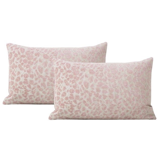 "2010s 12"" X 18"" Cougar Chenille Blush Lumbar Pillows - a Pair For Sale - Image 5 of 5"