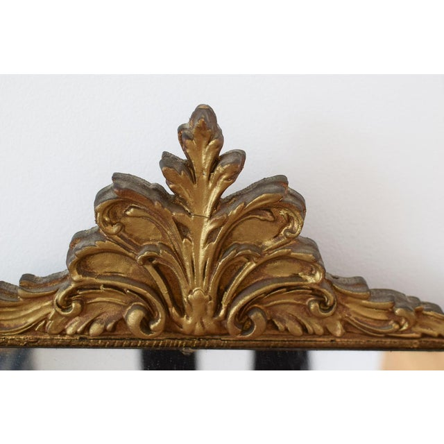 Vintage Wood Carved Golden Tone Wall Mirror For Sale In Washington DC - Image 6 of 8