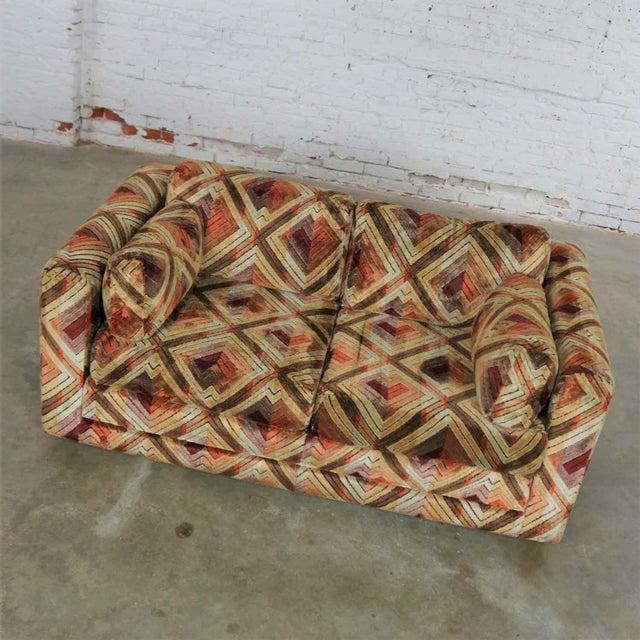 1970s Tuxedo Mod Loveseat Sofa in Jack Lenor Larsen Style Fabric For Sale - Image 5 of 13