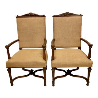 Pair of Early 20th-C. Carved French Oak Arm Chairs For Sale