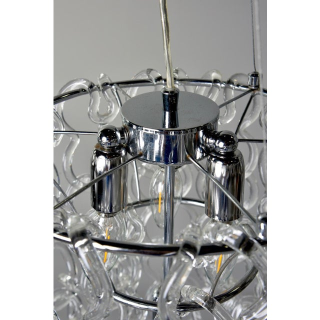 Hollywood Regency Mid-Century Giogali Glass Link Chandelier by Mangiarotti for Vistosi For Sale - Image 3 of 13