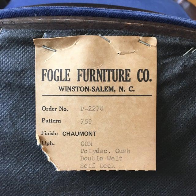 Fogle Furniture Co Navy Velvet Arm Chair - Image 6 of 6