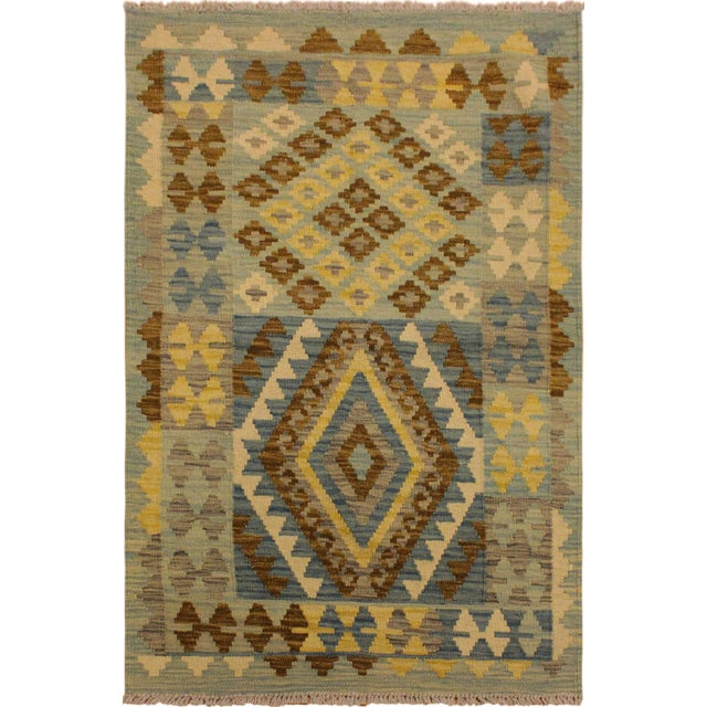 Blue Contemporary Tribal Roseann Blue/Gray Hand-Woven Kilim Wool Rug -2'8 X 4'1 For Sale - Image 8 of 8