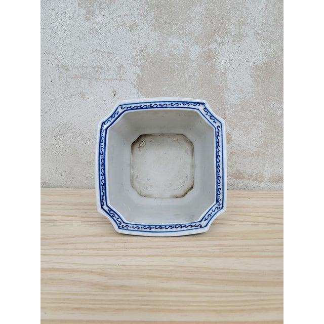 Blue & White Floral Ceramic Planter For Sale - Image 4 of 5