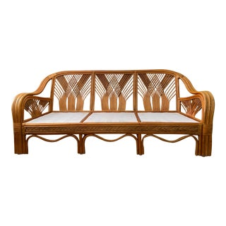 Vintage Rattan Sofa With Woven Design For Sale