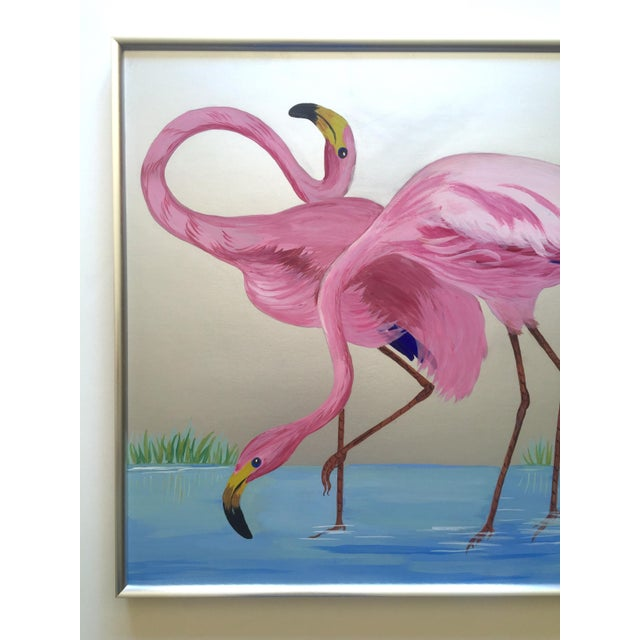 """This rare vintage 1950's Art Deco """"Pink Flamingos in Lagoon """" custom framed original one of a kind signed gouache painting..."""