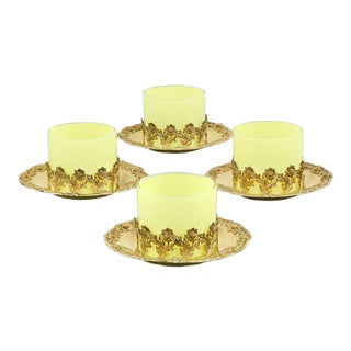 Royal Tiffany & Co. Chrysanthemum Silver-Gilt and Glass Ramekins - Set of 4 For Sale