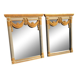 Hollywood Regency Monumental Gilt Wood Mirrors - a Pair For Sale