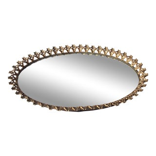 1950s Hollywood Regency Oval Mirrored Vanity Tray For Sale