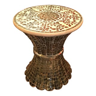 Antiqued Mirror Tiled, Sheaf of Wheat Styled Side Table, Vintage For Sale