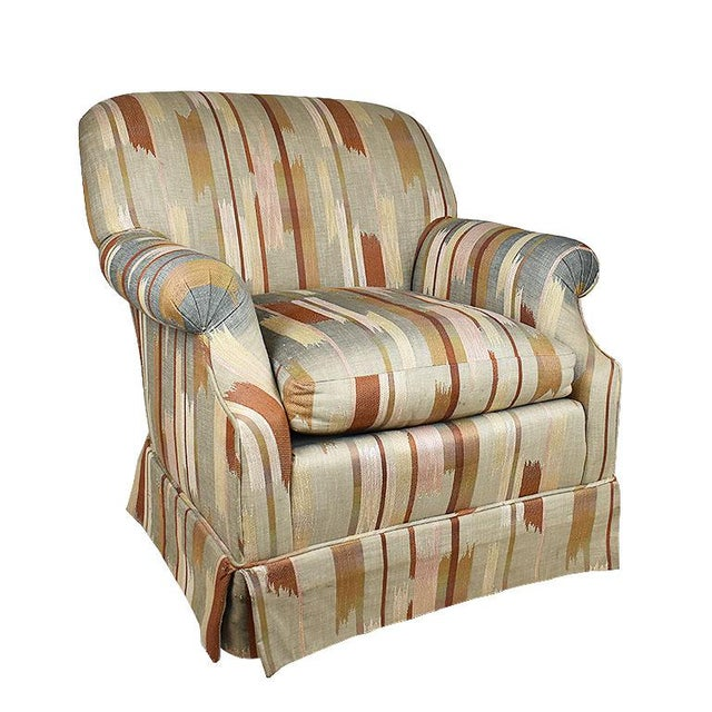 Rolling Upholstered Southwest Ikat Armchair in Brown Cream and Blue by Baker Furniture Company For Sale - Image 13 of 13