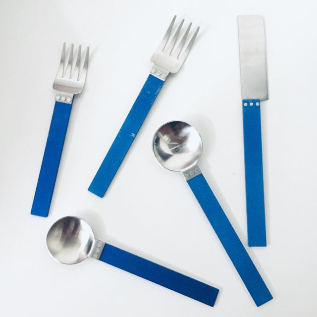 """1980s 5 Piece Metal """"electra"""" Flatware by David Tisdale for Sasaki For Sale - Image 11 of 11"""