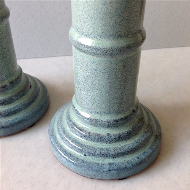 Sea Foam Pottery Candlesticks - A Pair - Image 6 of 11