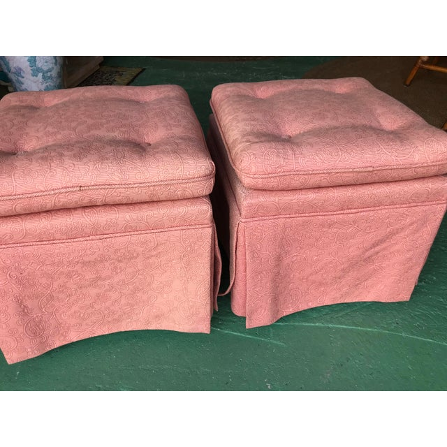 Hollywood Regency Vintage Pink Tufted Skirted Upholstered Ottomans-A Pair For Sale - Image 3 of 11