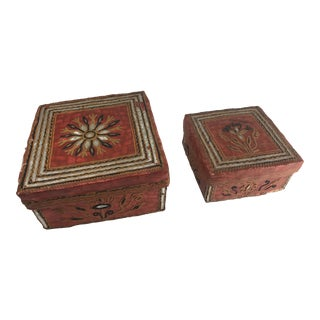 Folk Art Decorative Basket Boxes - a Pair