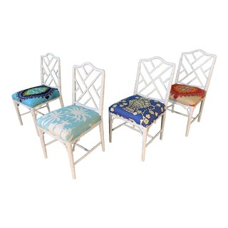 Faux Bamboo Chinoiserie Style Dining Chairs - Set of 4 For Sale
