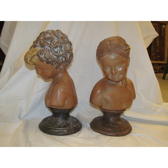 Paolo Marioni Italian Terracotta Child Statue Busts - A Pair - Image 2 of 5