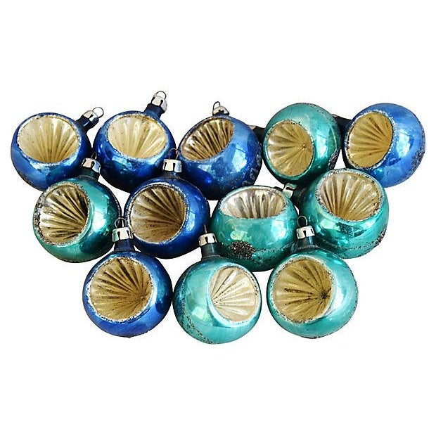 glass blue teal 1960s christmas ornaments wbox set of 12 for sale - Teal Christmas Ornaments