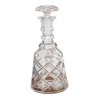 Crystal Three Ring Cut Glass Decanter from the Mid 20th Century For Sale