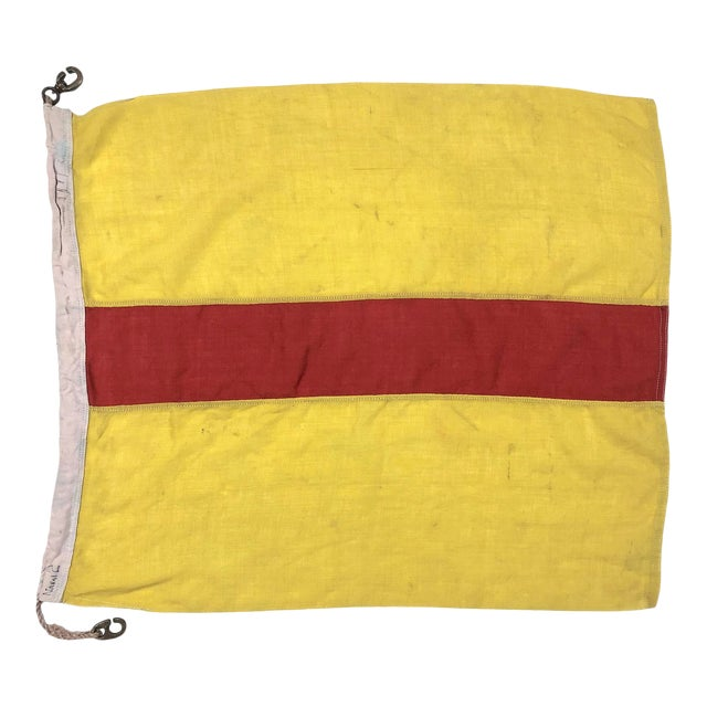 Mid Century Nautical Wool Signal Flag For Sale