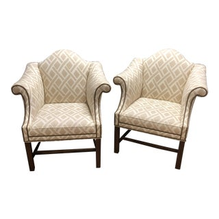 Late 20th Century Camelback Club Chairs- A Pair For Sale